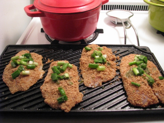 Pre-oven fried tilapia